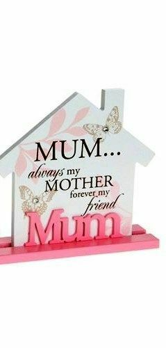 Vintage style House MUM Wooden Plaque Pink