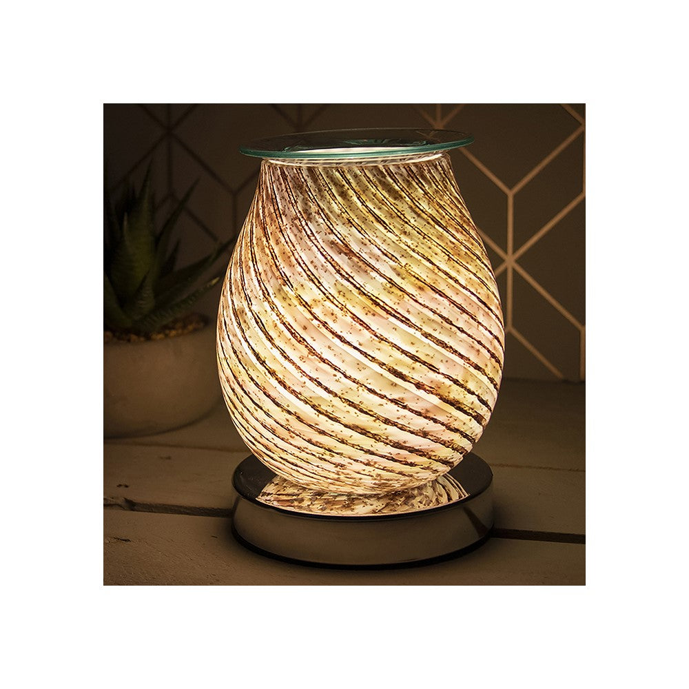 Desire Aroma 3D Electric Glass Swirl Touch Lamp Wax Melt Oil Burner