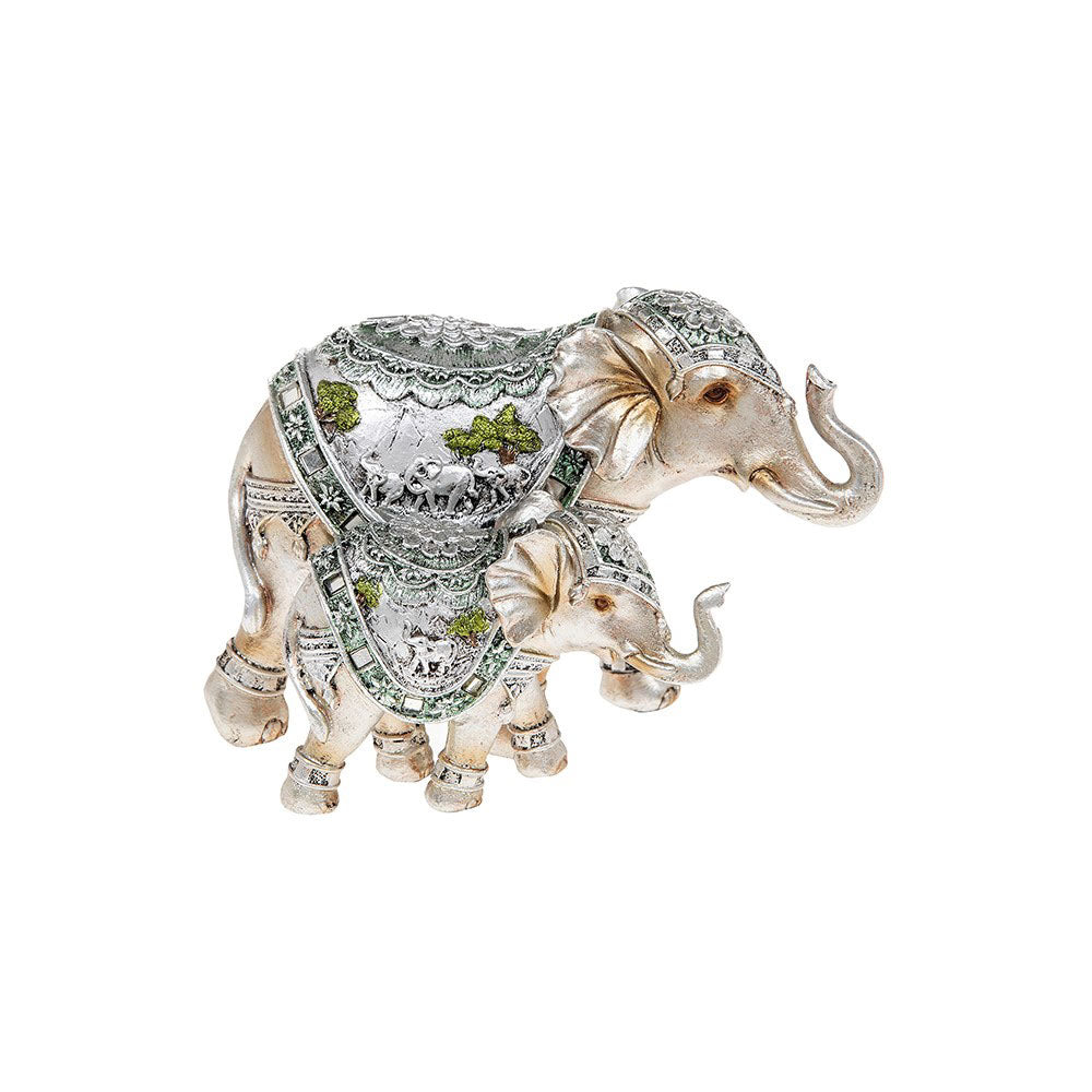 Shudehill Giftware Silver Scene Walking Elephant and Baby Ornament