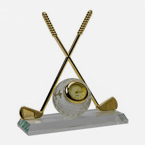 Miniature Clock Crossed Golf Clubs with Glass Ball