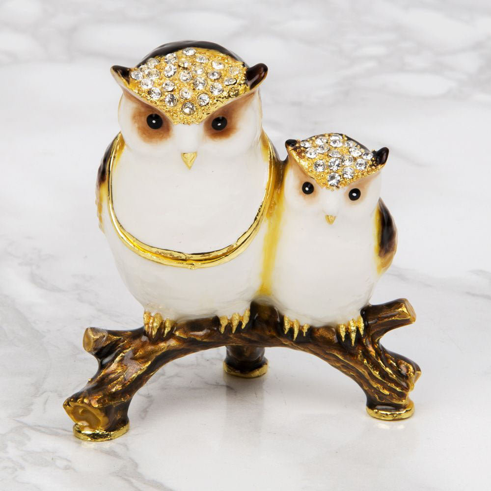 Treasured Trinkets Mother & Baby Owl Trinket Box