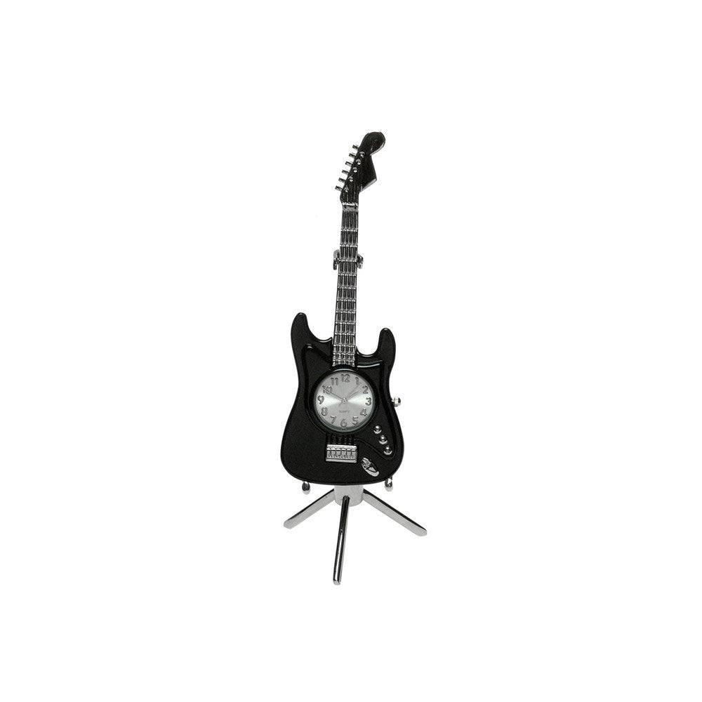 Techno Clocks Black Fender Guitar Miniature Clock