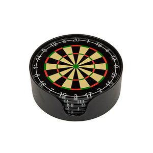 Set 6 Dart Board Glass Round Coasters Novelty Gift Holder