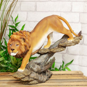 Naturecraft Lion On Log Figurine