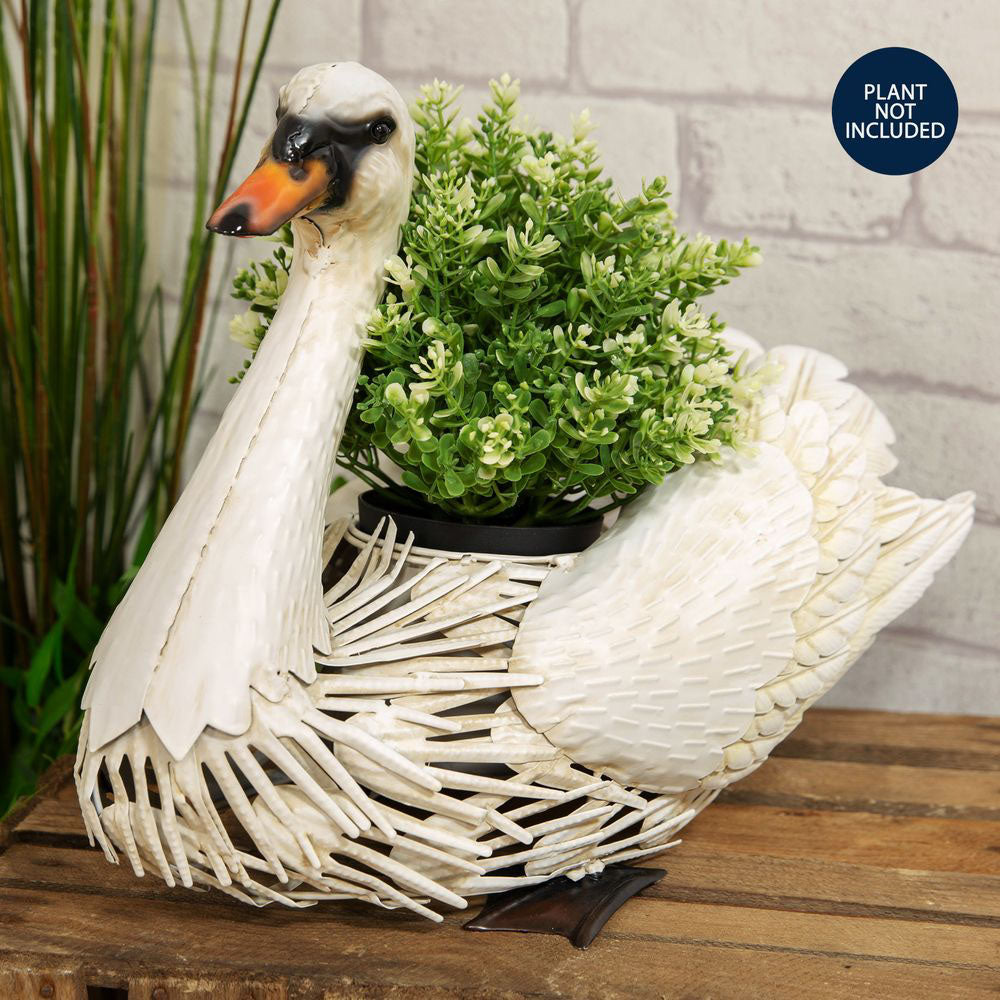 Country Living Handmade Metal Swan Planter
