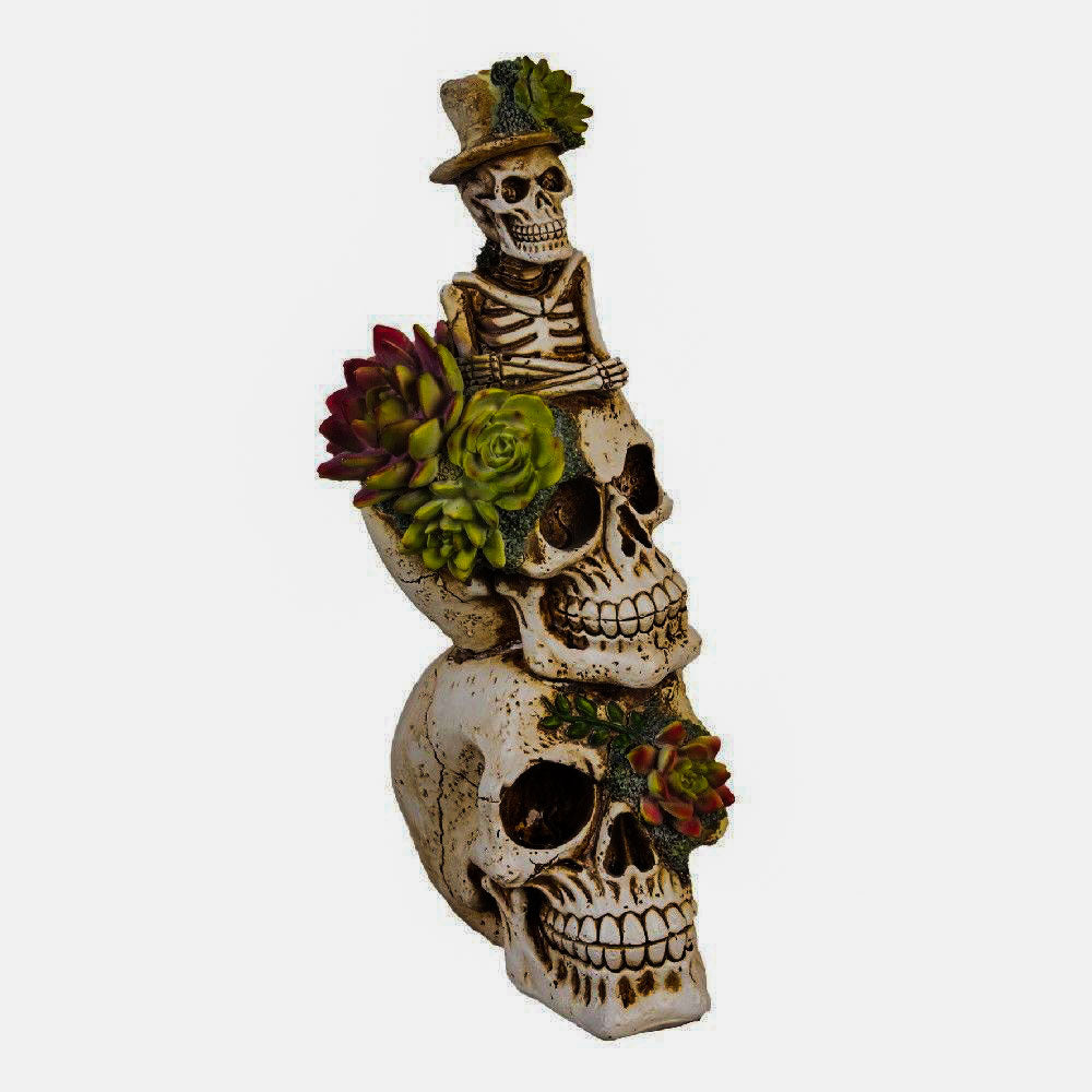White Stacked Floral Skulls Figurine