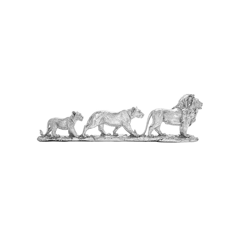 Lesser And Pavey Silver Art Lion Family Ornament