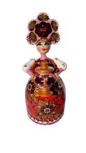 "Musical Hand Painted Wooden Russian Souvenir ""Lady with a samovar"""