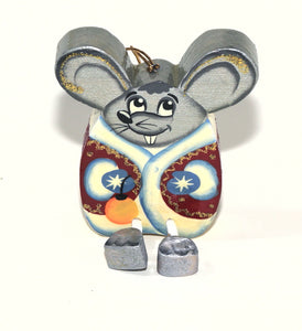 """Funny Mouse""  Wooden Christmas Ornament"
