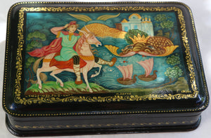 "Russian Kholuy Lacquer Box, ""Monster Wonder Whale"""