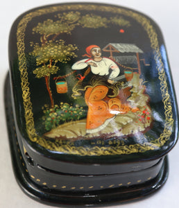 "Russian Palekh Lacquer Box, ""For Water"""