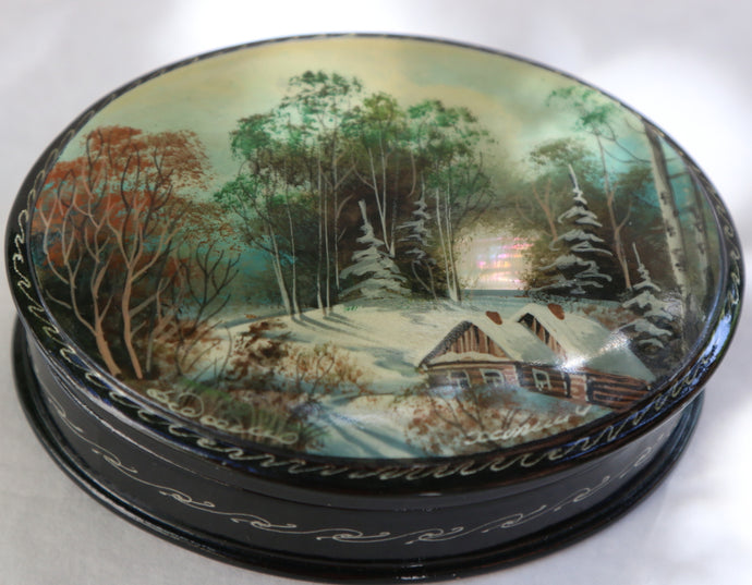 Mother Of Pearl Fedoskino Russian Lacquer Box