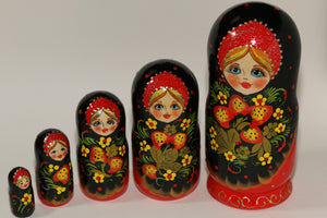 "Matryoshka, ""Black and Red Floral"""