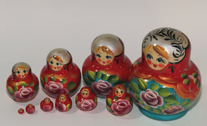 "Red Matryoshka with ""Pink Flowers"""