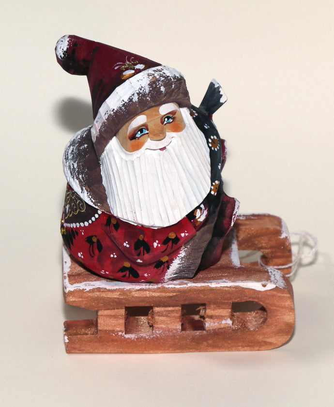 Hand Carved Russian Father Frost (Santa Claus) on Sled