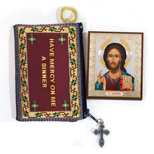 Load image into Gallery viewer, Tapestry Jesus Prayer Pouch With Mini Icon Christ The Pantocrator