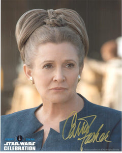 "Carrie Fisher ""General Leia Organa"" 8x10 Autograph Star Wars Celebration 2016"