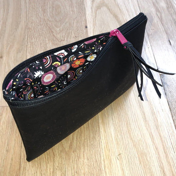 Black Cork Zipper Pouch