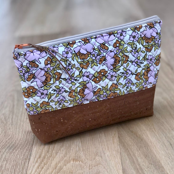 Caramel Cork Quilted Zipper Pouch