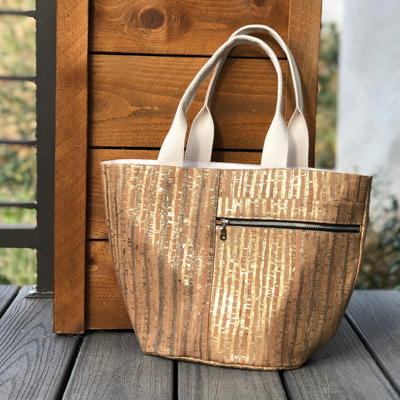 Cork Fabric Crescent Tote Bag