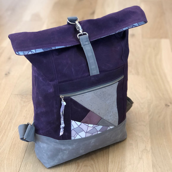 Range Backpack: Eggplant and Dove Gray Waxed Canvas
