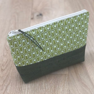 Olive Cork Quilted Zipper Pouch