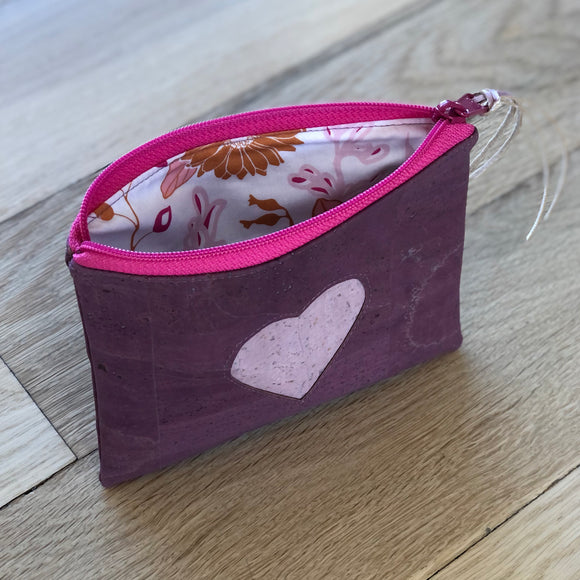 Heart Cork Zipper Pouch