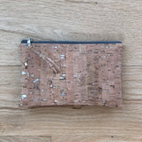 Stripped Silver Cork Zipper Pouch
