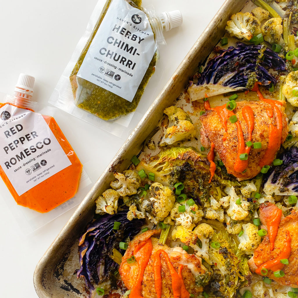 Chimichurri and Romesco Sheet pan Chicken