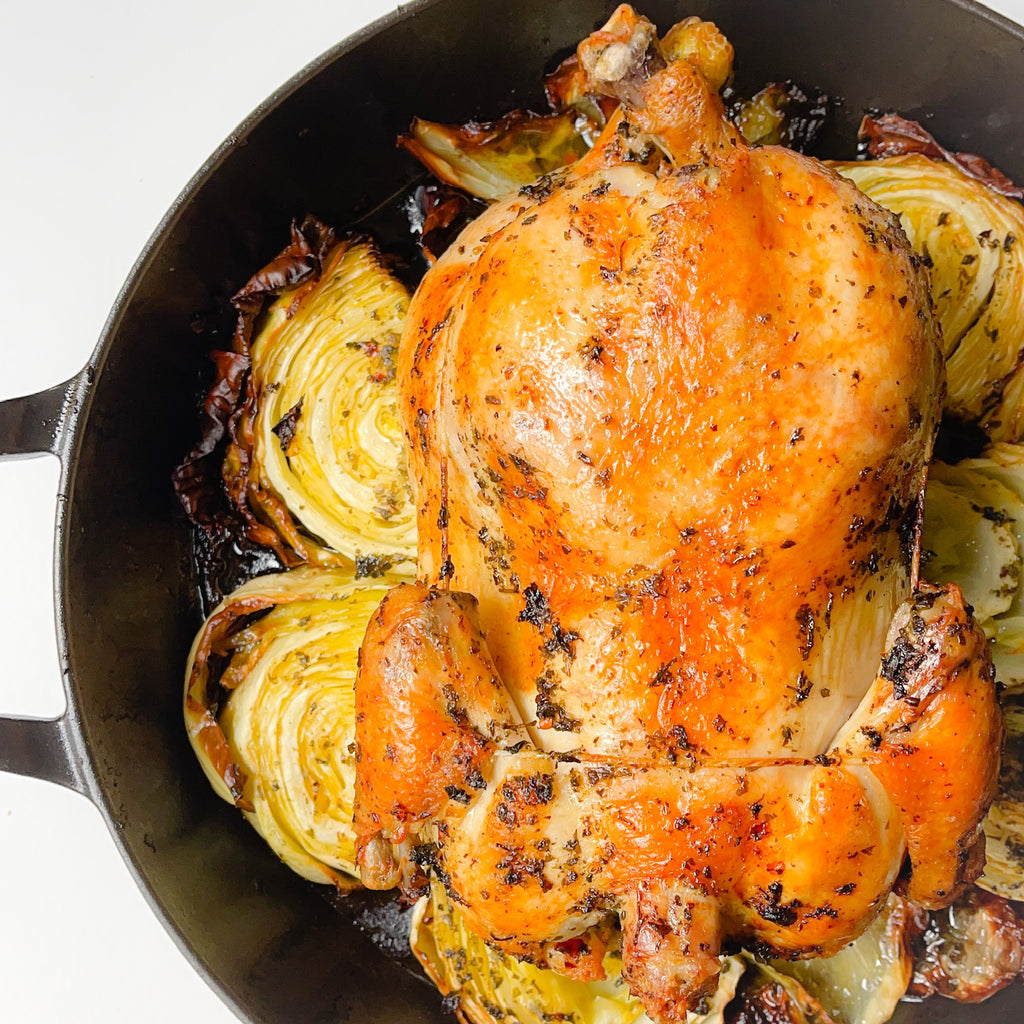 Chimichurri Whole Roasted Chicken with Cabbage