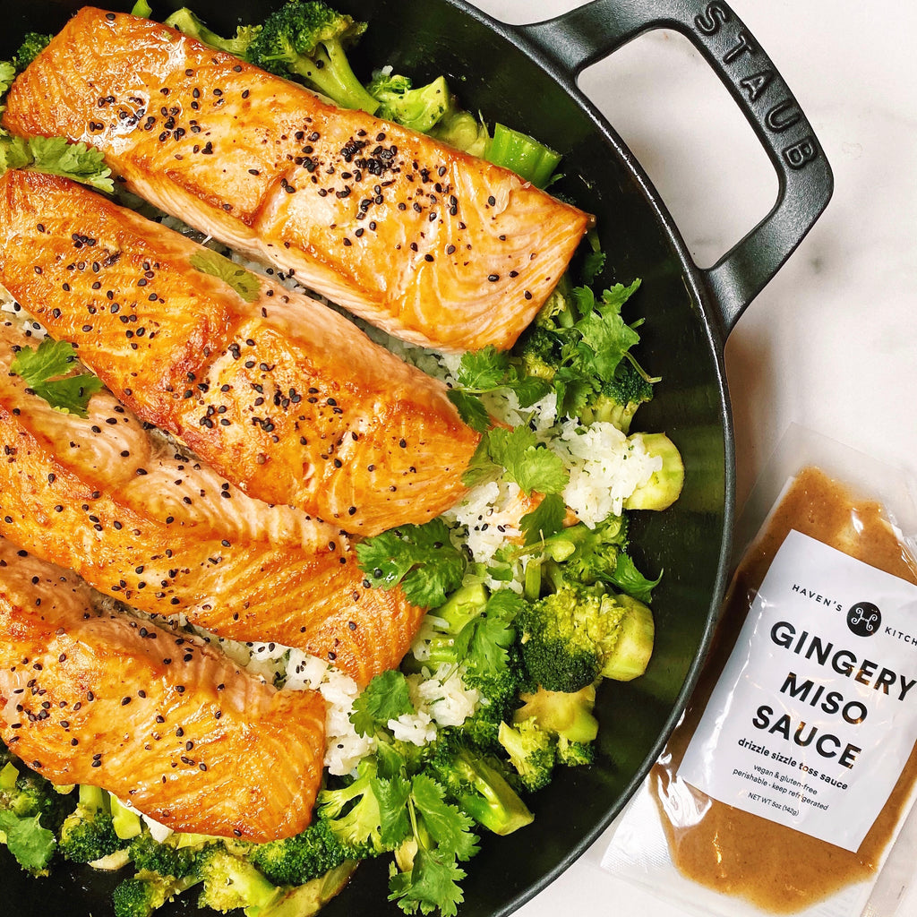Salmon with Miso Butter Broccoli