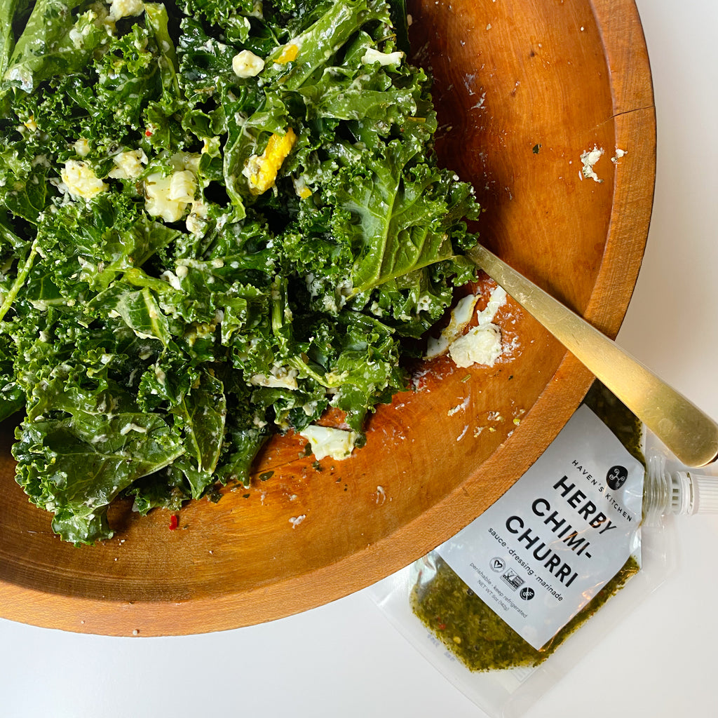 Creamy Kale Salad with Herby Chimichurri