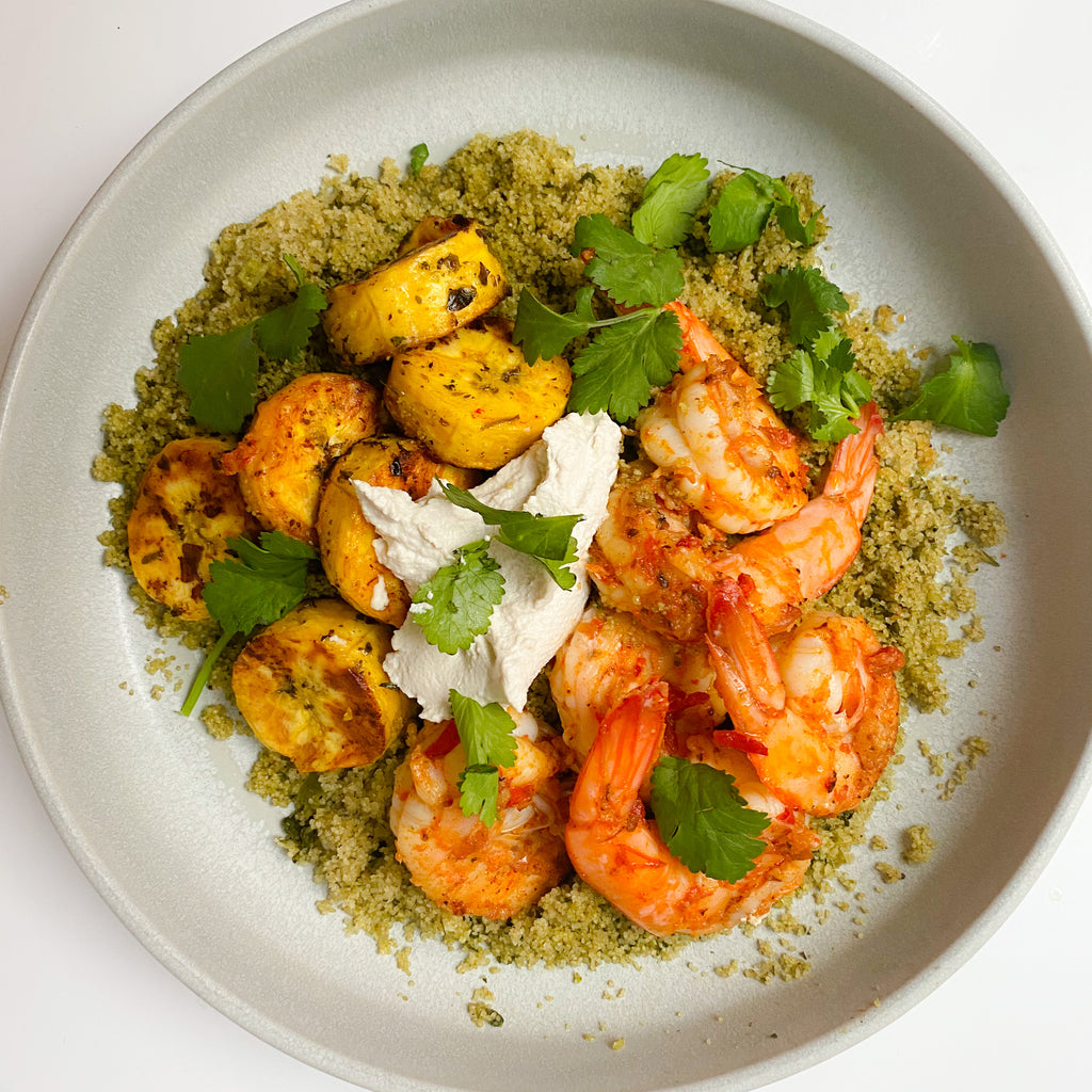 Fonio with Marinated Shrimp and Chimichurri Plantains
