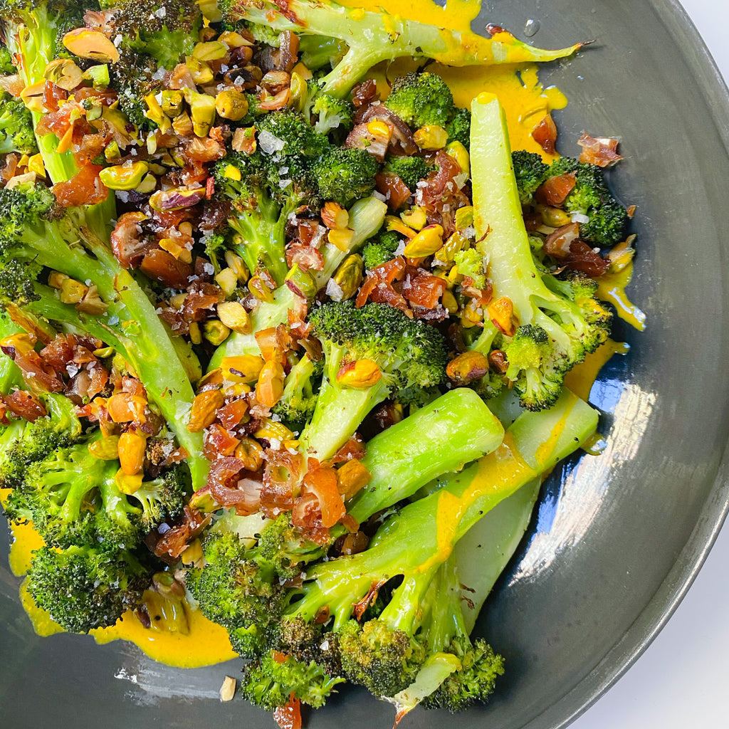 Roasted Broccoli with Golden Tahini, Dates, and Pistachios