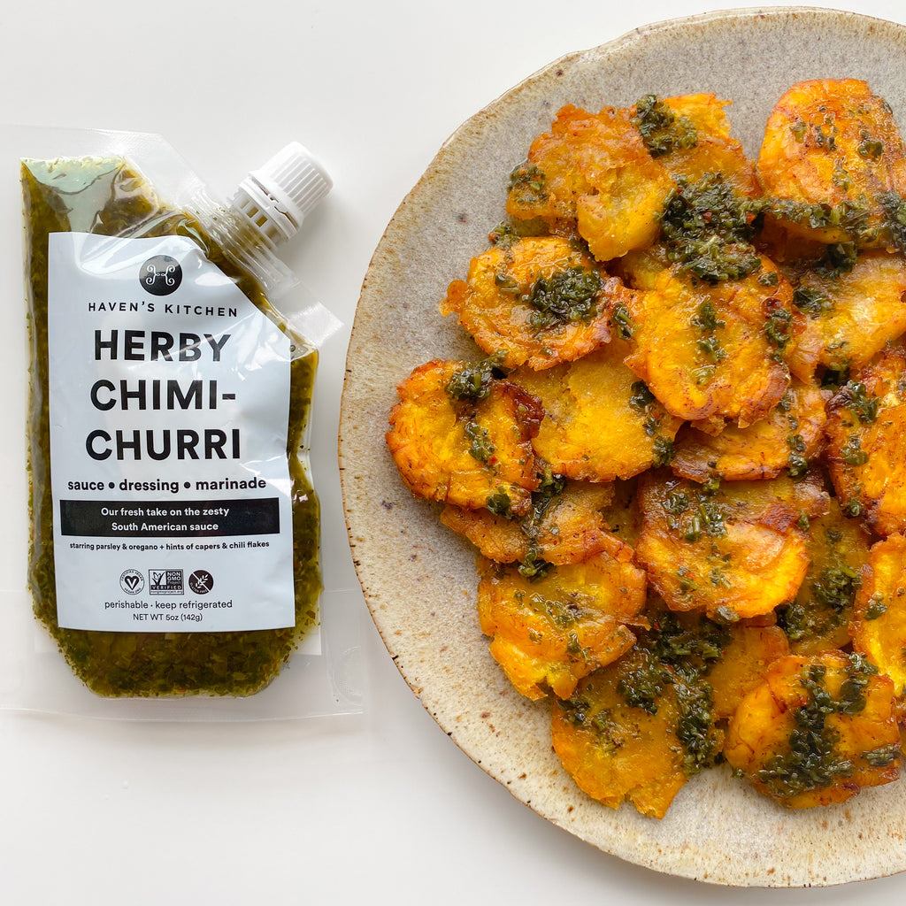 Tostones with Herby Chimichurri