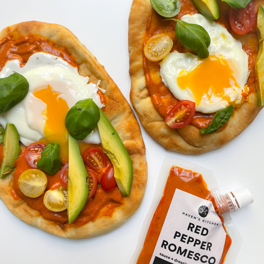 Baked Naan with Romesco
