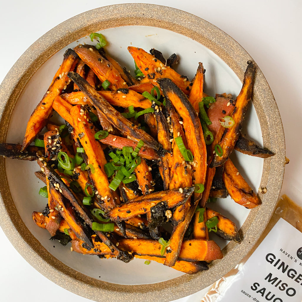 "Gingery Miso Sweet Potato ""Fries"""