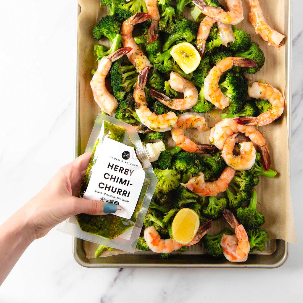 Chimi-Butter Sheet pan Shrimp with Broccoli