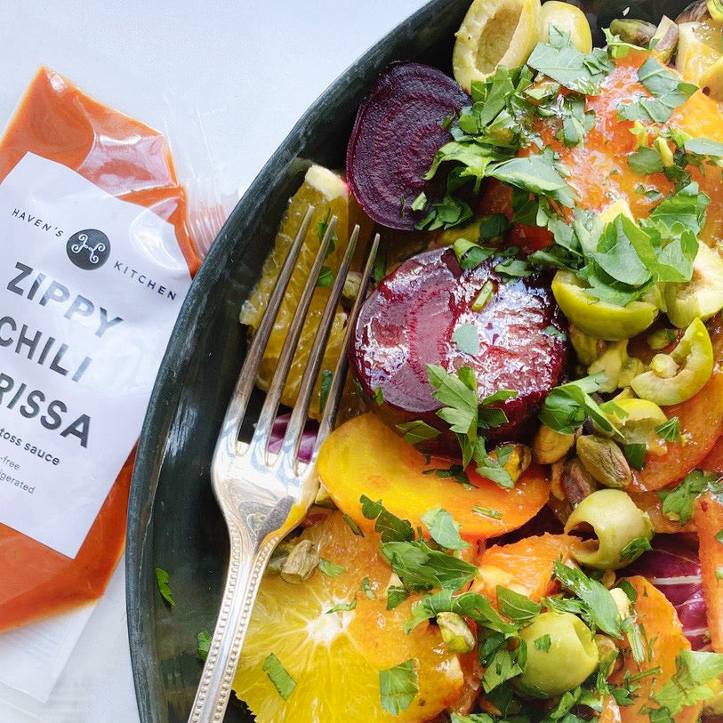 Roasted Harissa Beets with Pistachios & Citrus