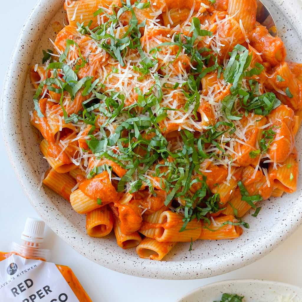 Romesco Rigatoni with Vegan Cheese and Basil