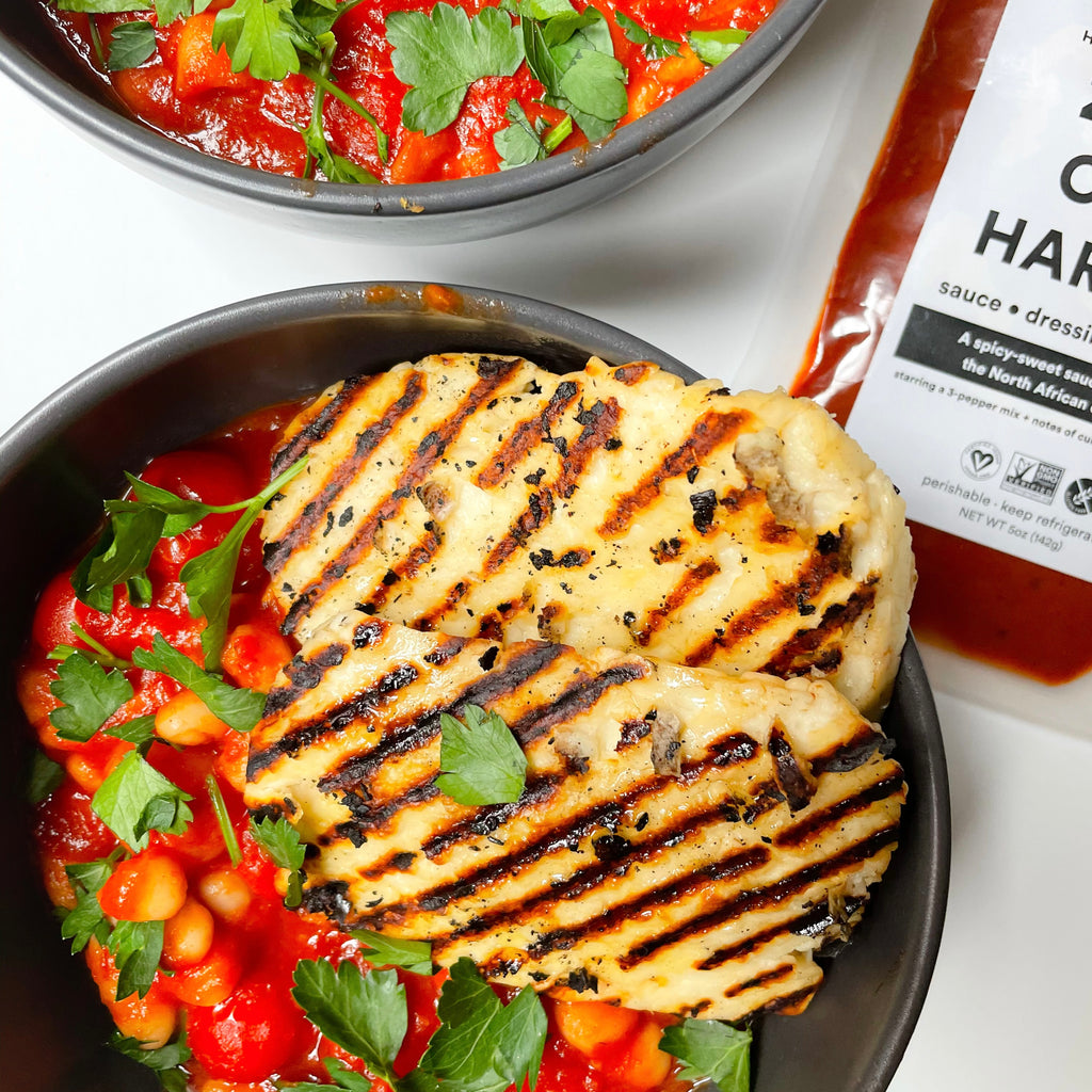 Harissa White Beans with Grilled Halloumi