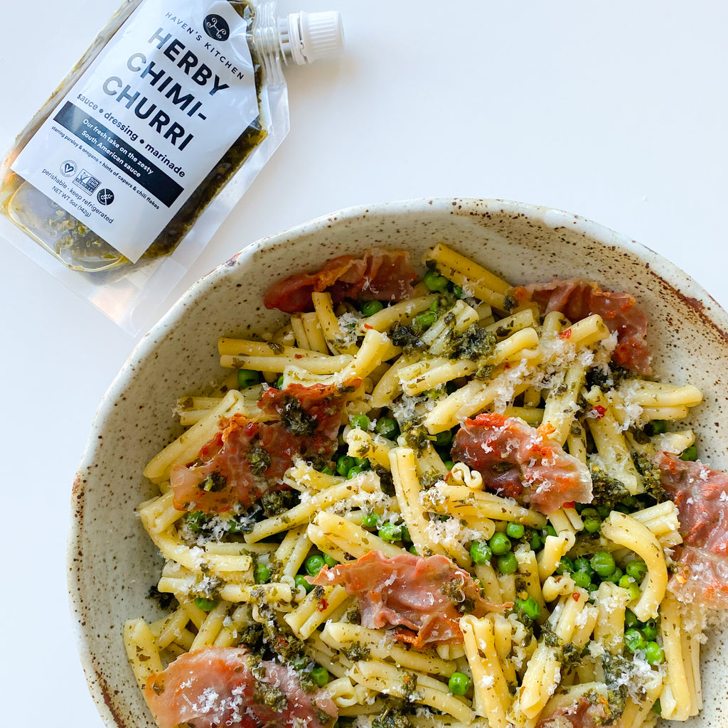 Herby Chimichurri Pasta with Peas and Prosciutto
