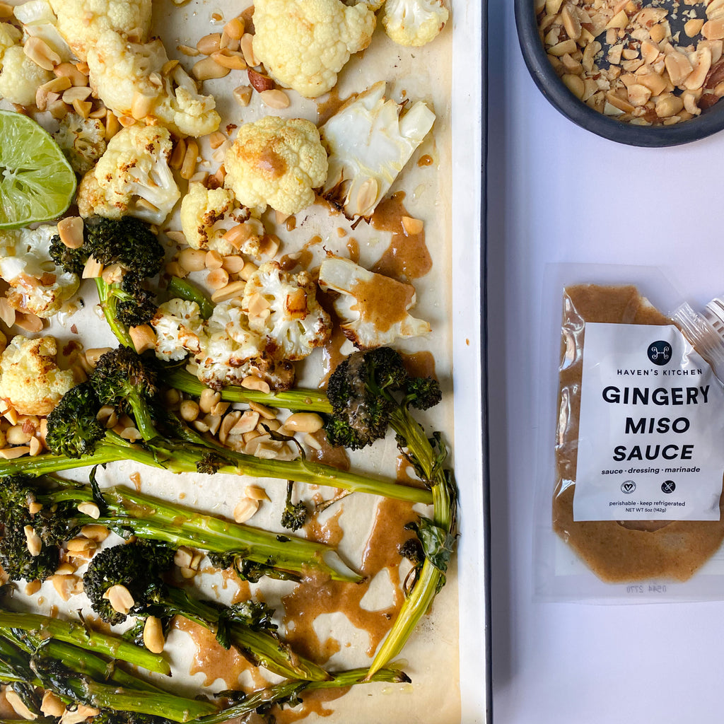 Charred Broccolini and Cauliflower with Gingery Miso