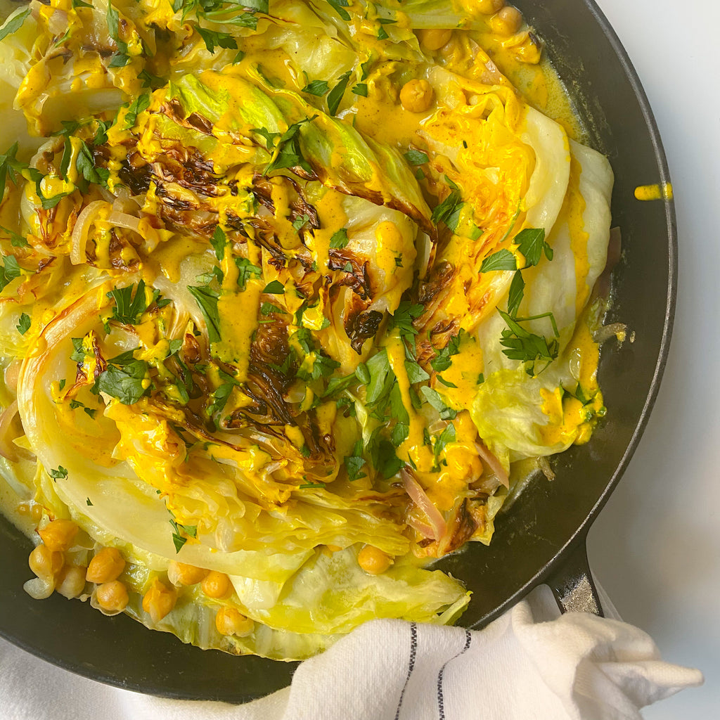 Golden Tahini Braised Cabbage and Chickpeas