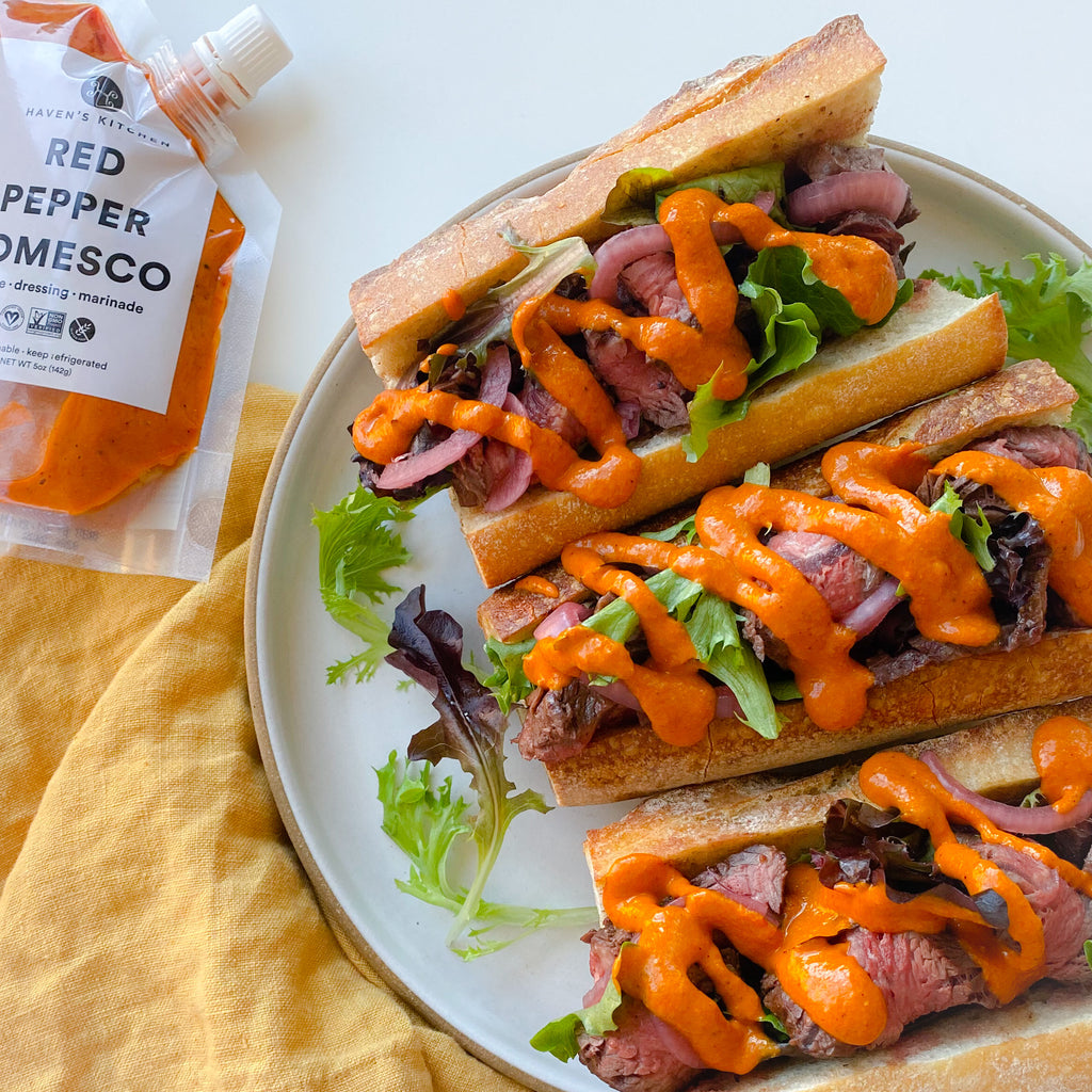Red Pepper Romesco Steak Sandwich