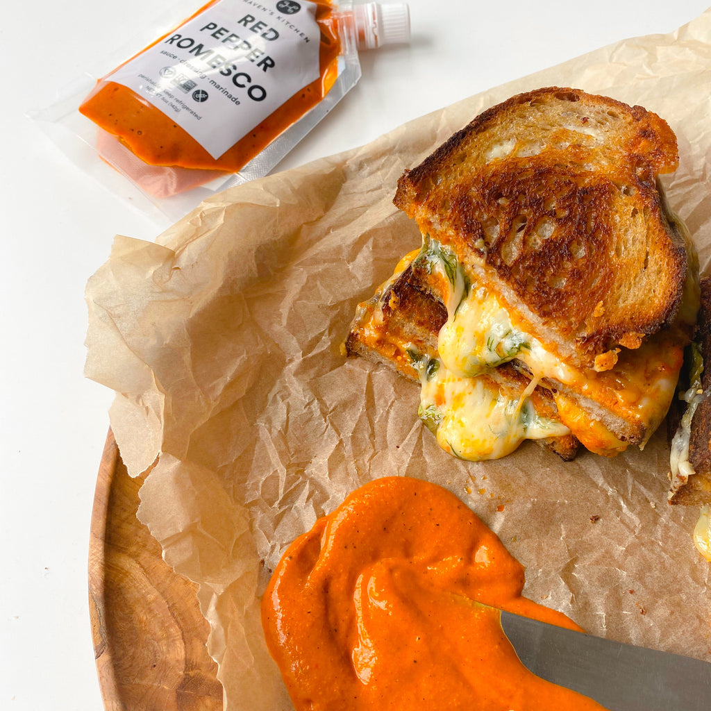 Red Pepper Romesco Grilled Cheese