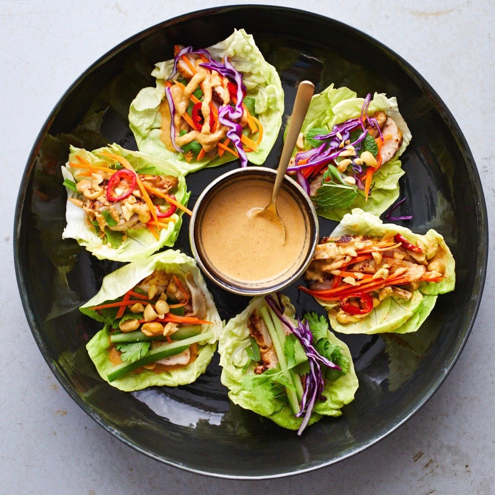 Nutty Lemongrass Lettuce Wraps
