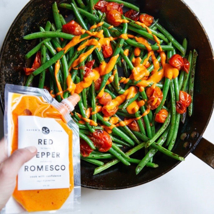 Charred Green Beans with Romesco