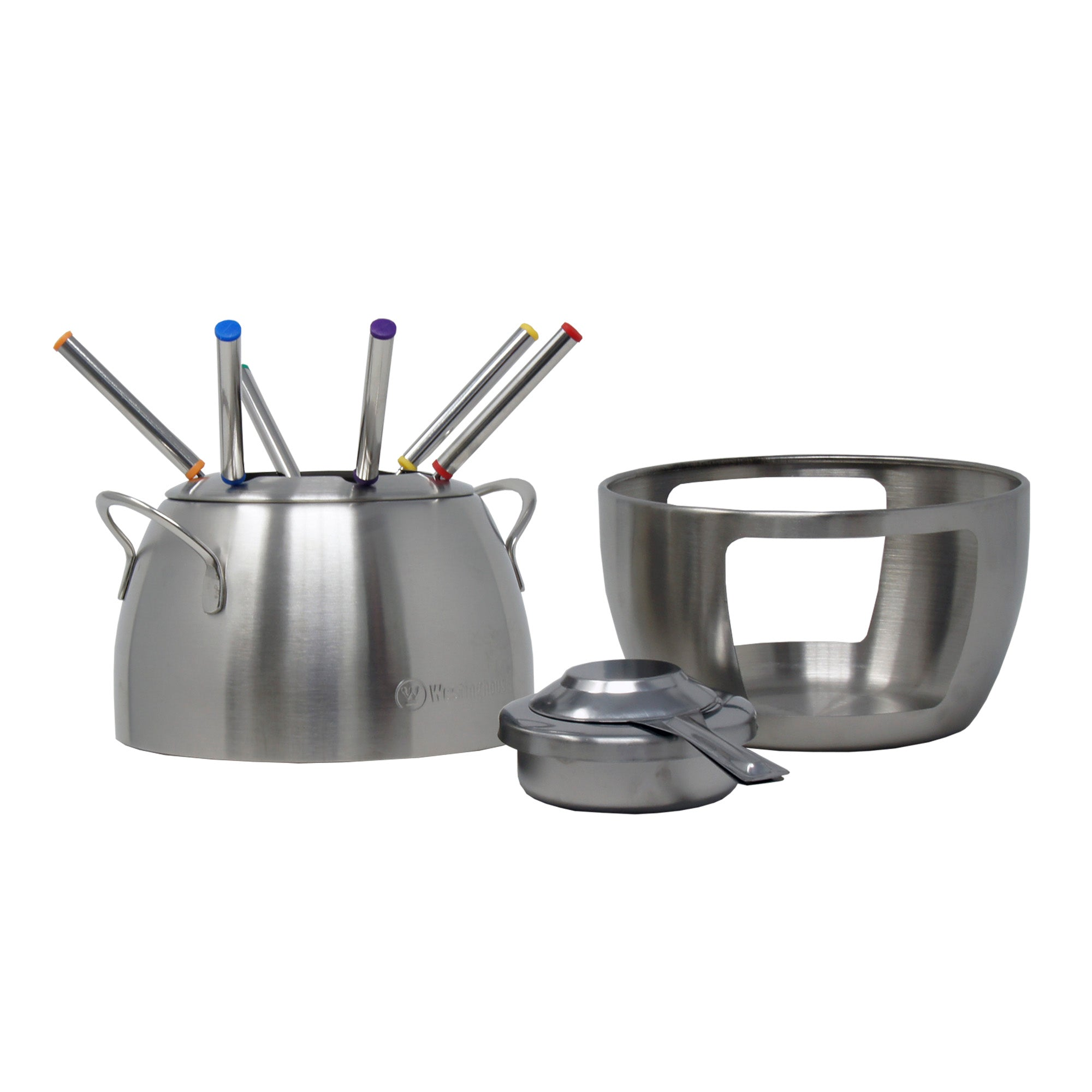 Set para Fondue de Acero Inoxidable con 6 Tenedores de Distintos Colores