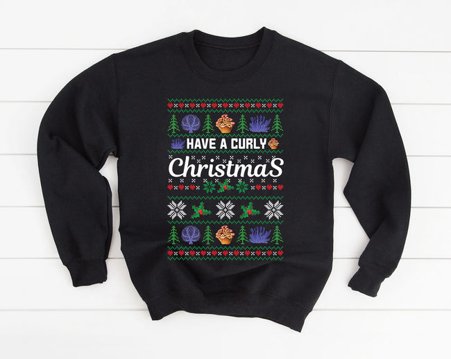 Have a Curly Christmas Ugly Christmas Black T-shirt Sweatshirt